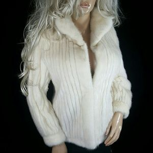 VINTAGE OFF WHITE BLONDE REAL MINK FUR COAT